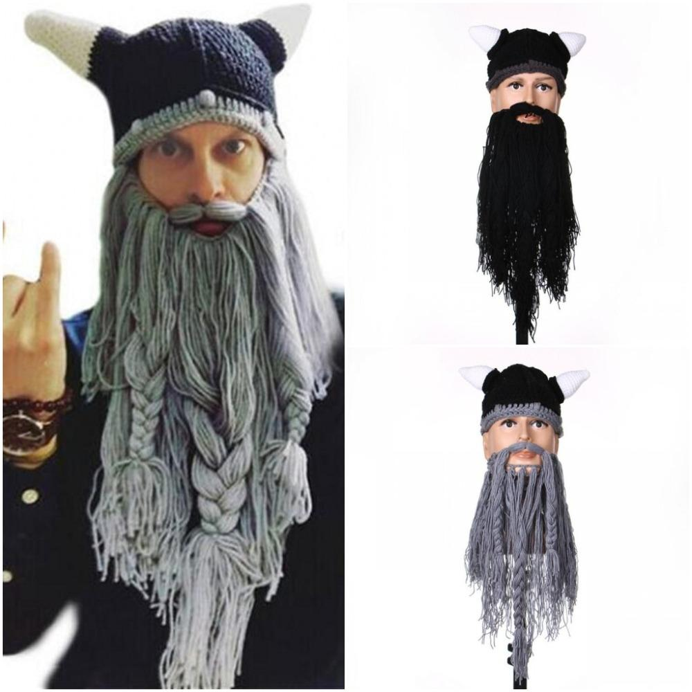 2019 Men S Barbarian Vagabond Viking Beard Beanie Horn Hats Handmade  Knitted Winter Warm Birthday Cool Gifts Funny Gag Halloween Cap From  Jumeiluo 4674e745f42