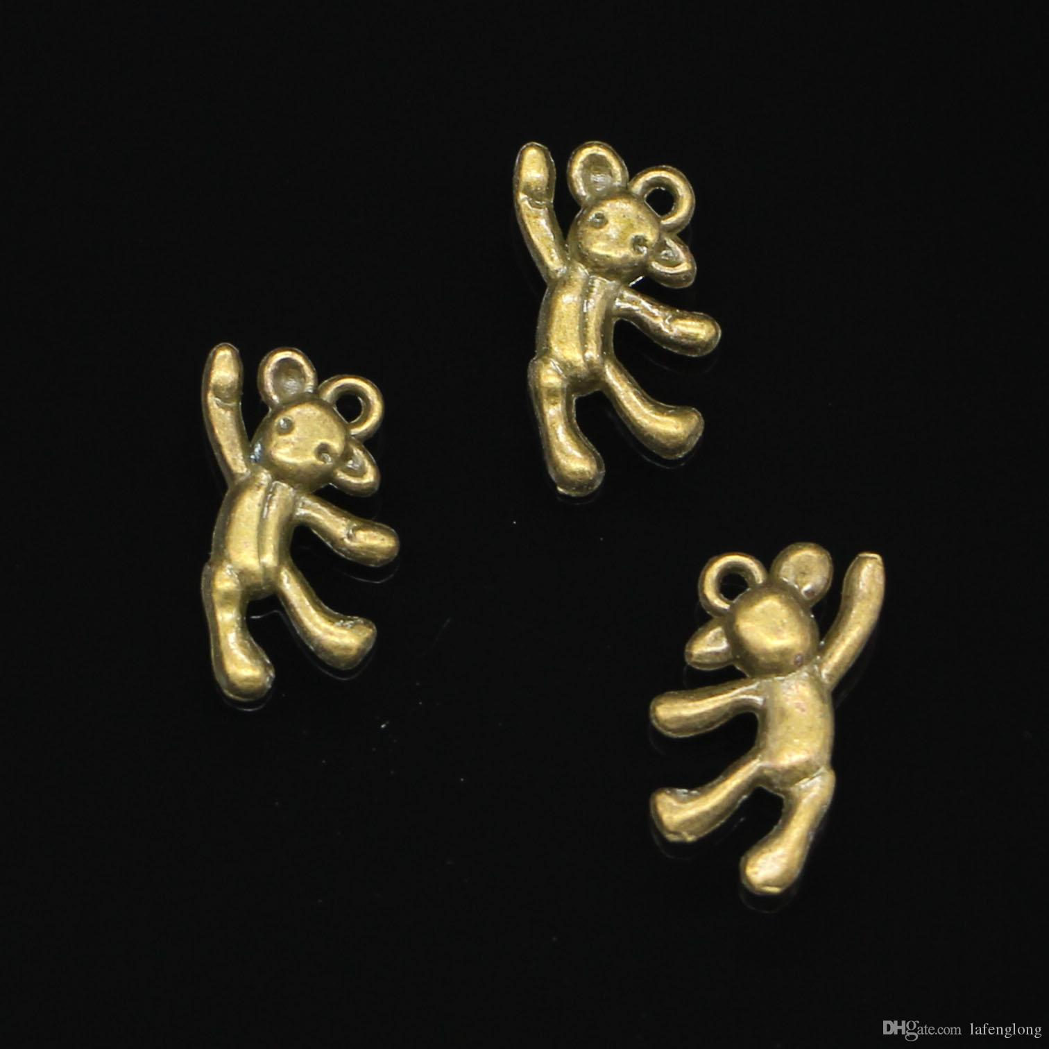 78pcs Antique Bronze Plated gymnastics lovely bear Charms Pendants fit Making Bracelet Necklace Jewelry Findings Jewelry Diy Craft 19*10mm