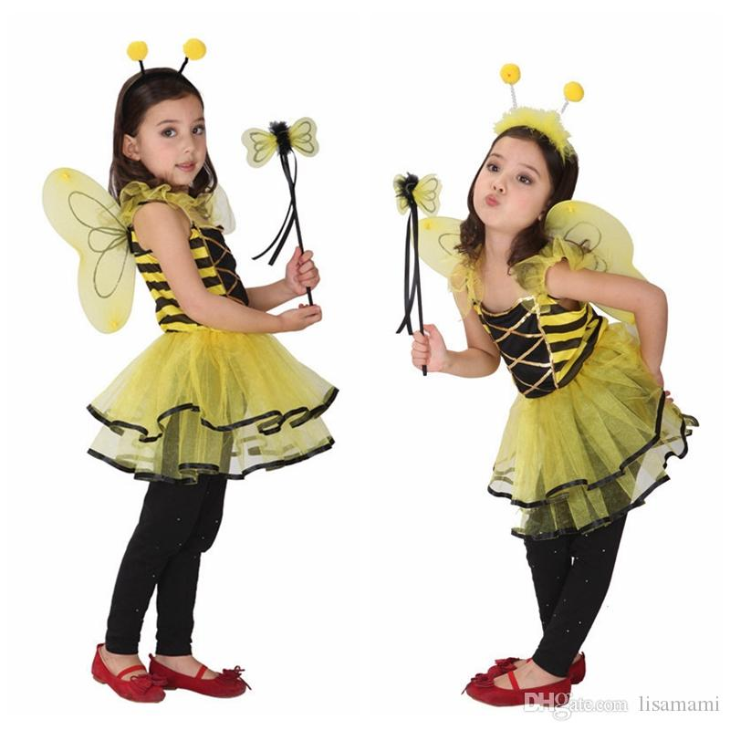 06e76082f8165 2019 Children Kids Halloween Cosplay Costumes for Girls Animal Bee dress  with Hair Sticks Cosplay Clothing for Boys/ Girls Stage show