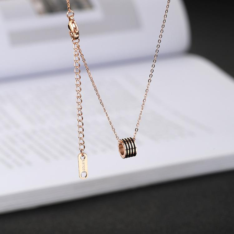 Black thread white shell small ankle pendant personality fashion guitar pendant double letter M hollow kitten necklace key clavicle chain