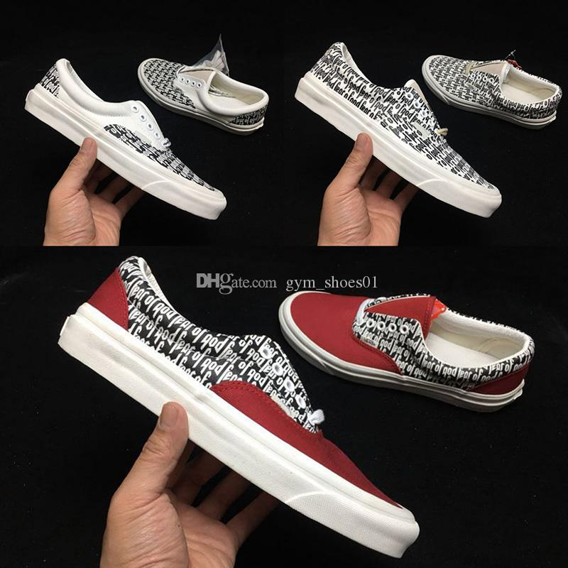 8203904ac3cc5 2019 2019 New Fear God X PacSun Personality 97 Canvas Shoes Men And Women  Casual Shoes Red And White Sports Shoes 36 44 With Box From Gym shoes01