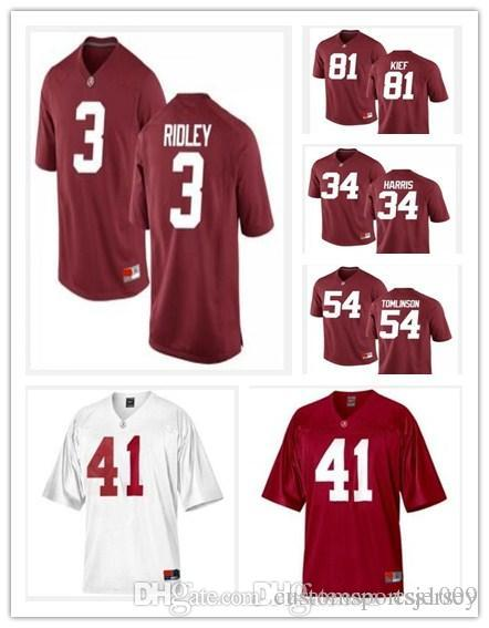 31dd58525 2019 Alabama Crimson Tide 3 Ridley 34 Harris 41 Upshaw 54 Tomlinson 81 Kief Customized  Limited White Red 2013 BCS Patch NCAA Football Jersey From ...