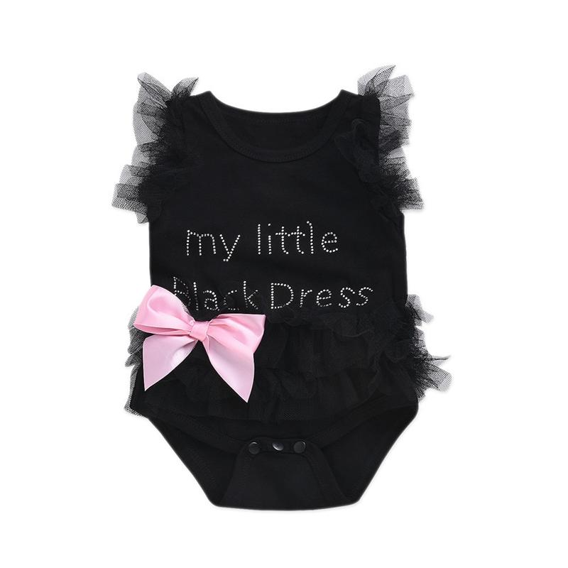 2019 Newborn Baby Girls Bodysuits Fashion Embroidered Lace My Little Black  White Pink Dress Letters Infant Baby Bodysuit Rompers From Greatamy 850e5c7a9