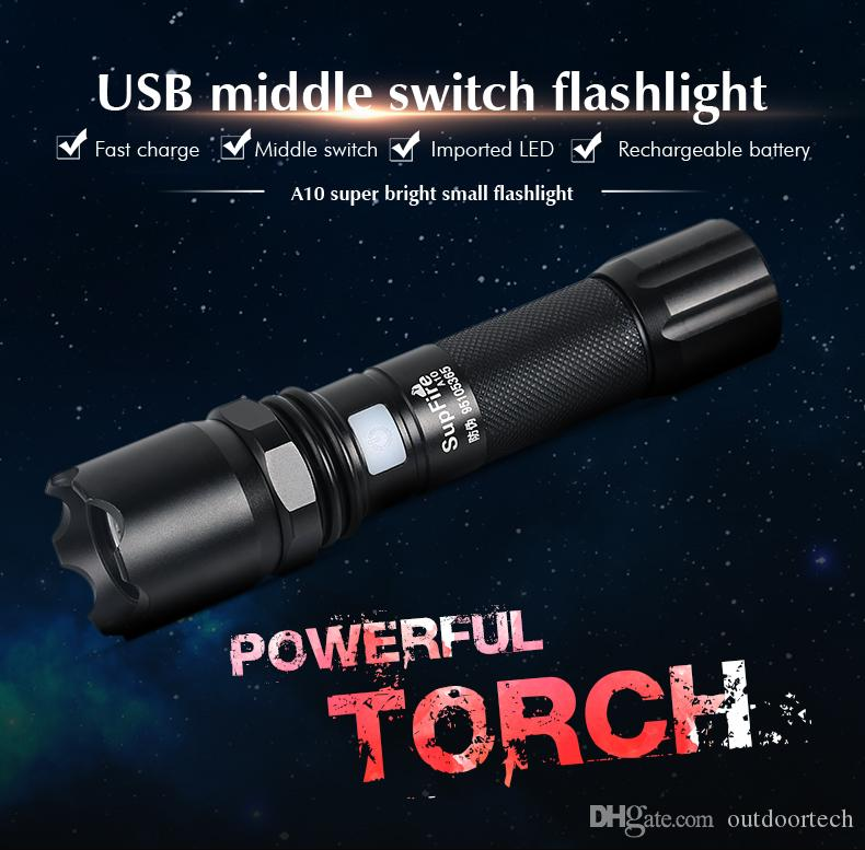 Portable Ultra Bright Handheld LED Flashlight and 5 Light Modes, Outdoor Water Resistant Torch, Powered Tactical Flash A10