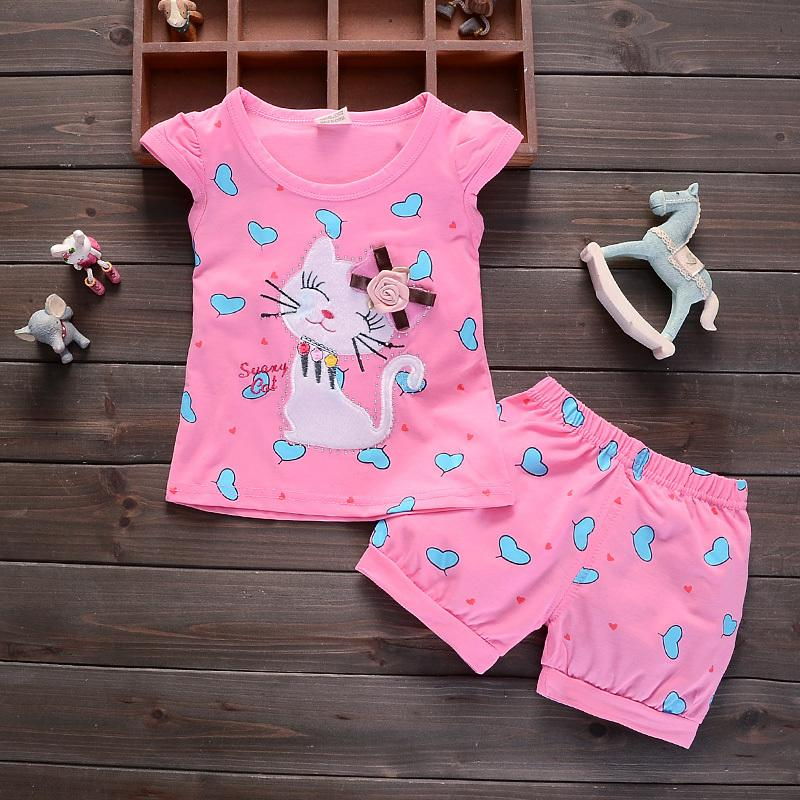 2b51418e3df 2019 Good Quality Baby Girls Summer Clothing Sets Cartoon Set Cute Cat Vest  Top+Shorts Sets Summer Toddler Children Clothes Sets From Yosicil09