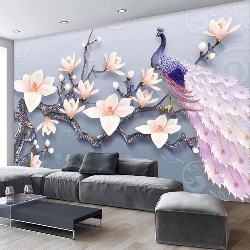 Custom Mural Wallpaper Non Woven 3d Stereoscopic Embossed Magnolia Flower Peacock Wall Painting Living Room Bedroom Home Decor