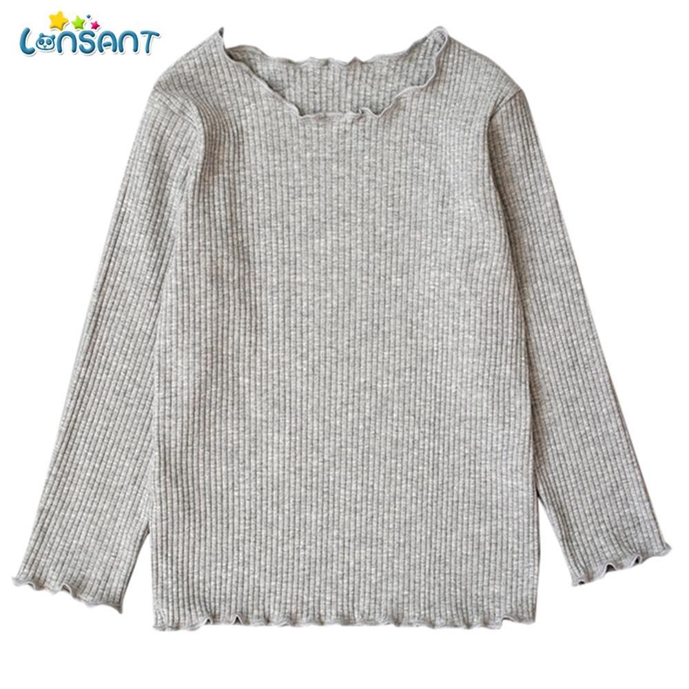 93b8b03339708 Acheter LONSANT Vêtements Pour Enfants Enfant Bébé Fille En Bas Chemise  Solide Coton Doux Hauts À Manches Longues T Shirt Pull Bébé Filles  Vêtements De ...