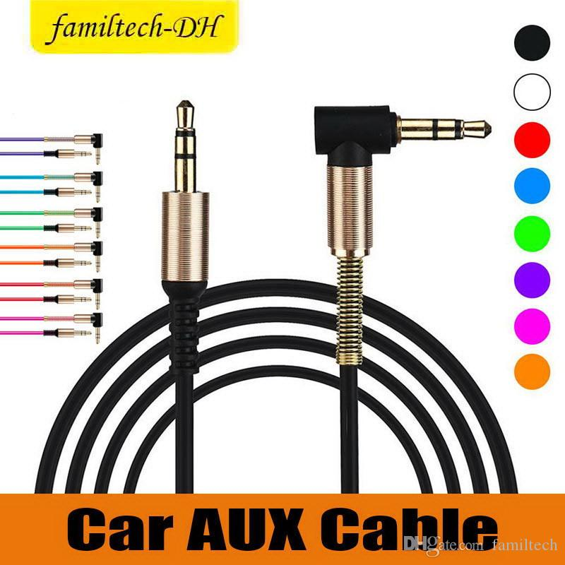 Best seller da 3,5 mm maschio a maschio angolo retto auto ausiliaria audio stereo audio cavo AUX metallo per telefoni auto cuffie iphone