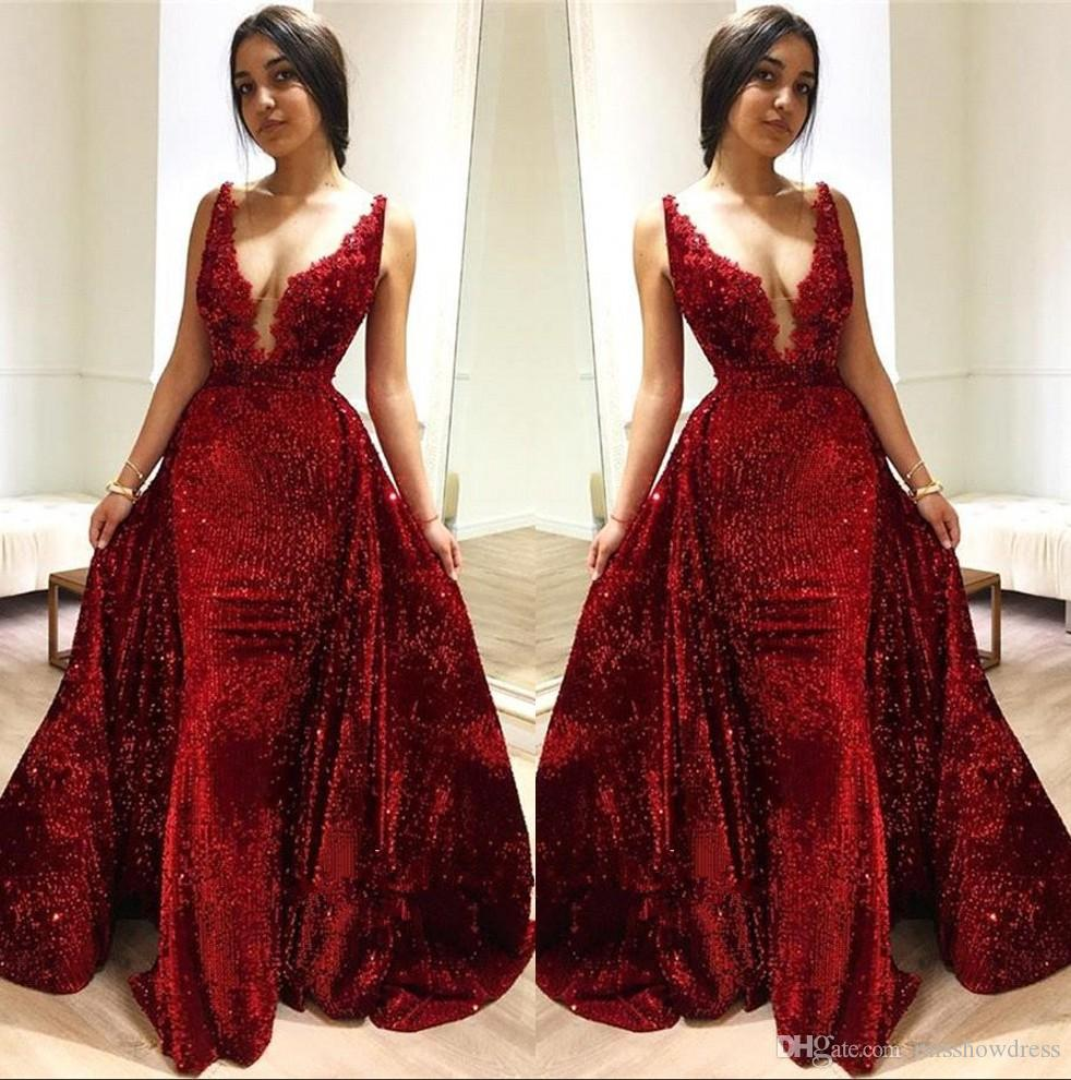 2c9c66b960e 2019 New Red Sequins Mermaid Long Prom Dresses Deep V Neck Lace Applique  Sweep Train Formal Party Evening Gowns With Over Skirts BC1514 Mid Length  Prom ...