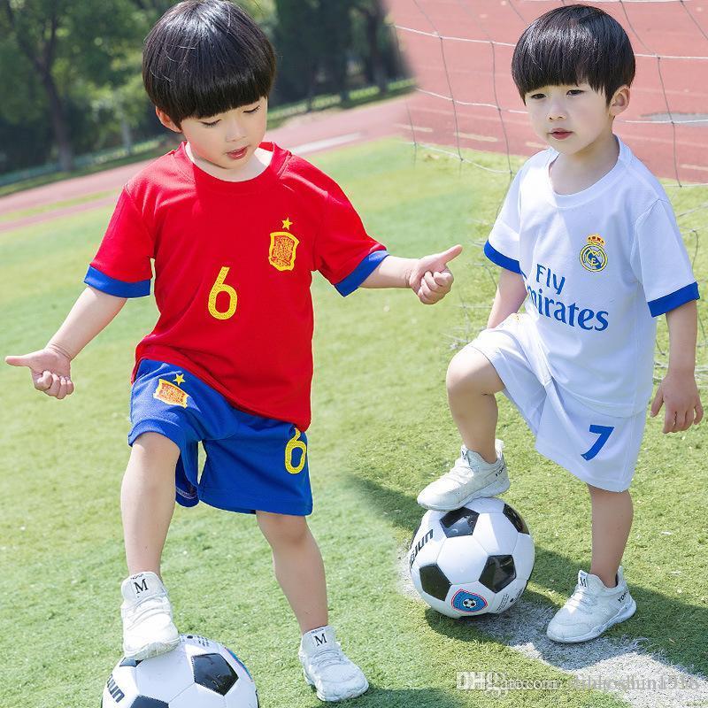 406ca4c689b1 2019 New Children S Football T Shirt + Pants Suit Boys Sports ...