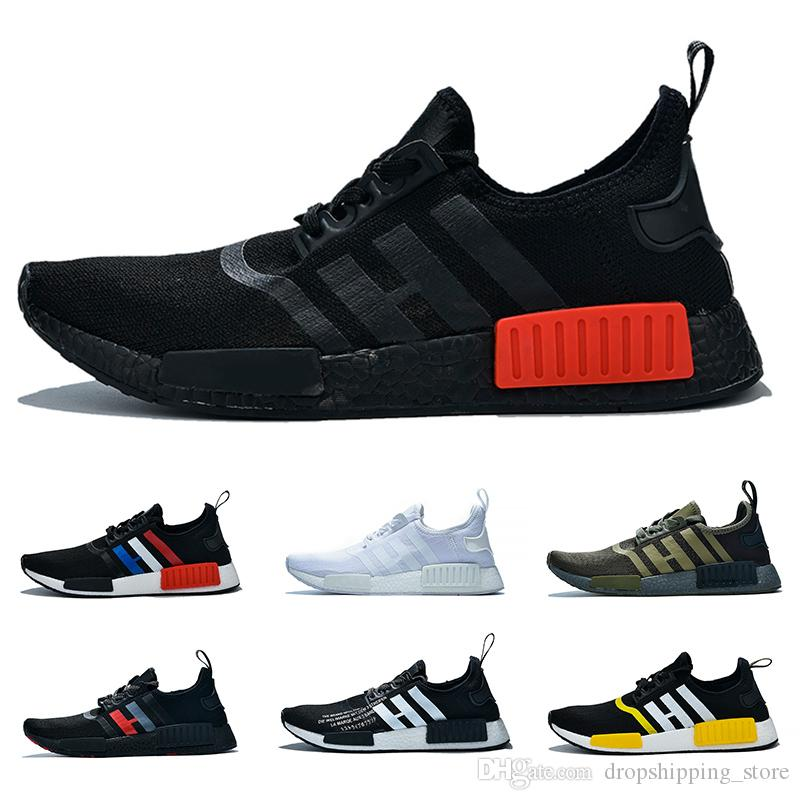 low priced 83b5a 8e29e NMD R1 Boost Running Shoes Men Women atmos Triple White Black Red Olive  Cheap Trainer Sport Sneaker Big Size 5-12 Free Shipping