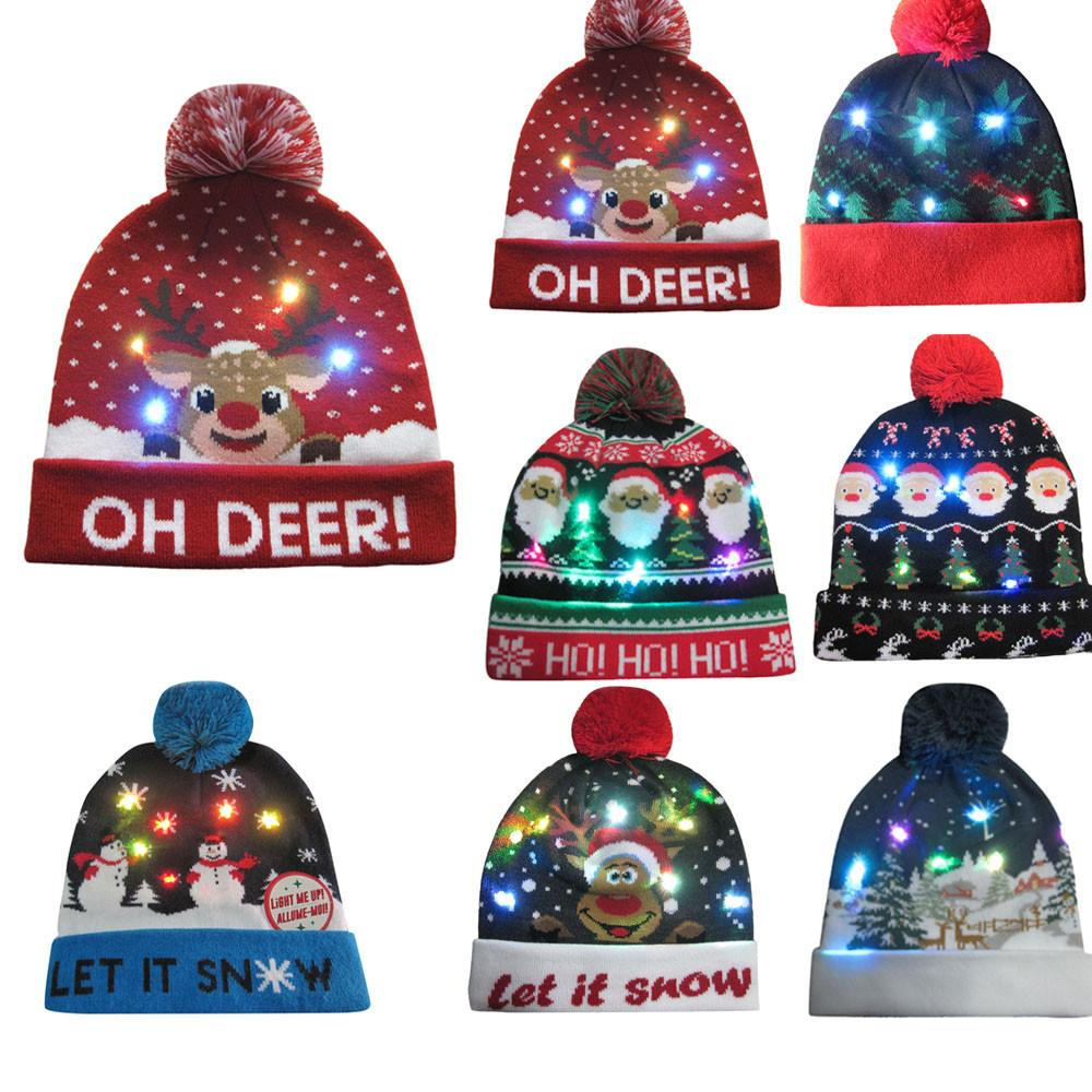 Women s UnisexLED Light-up Knitted Beanies Hat Boys Ugly Sweater ... db8031d9f1b4