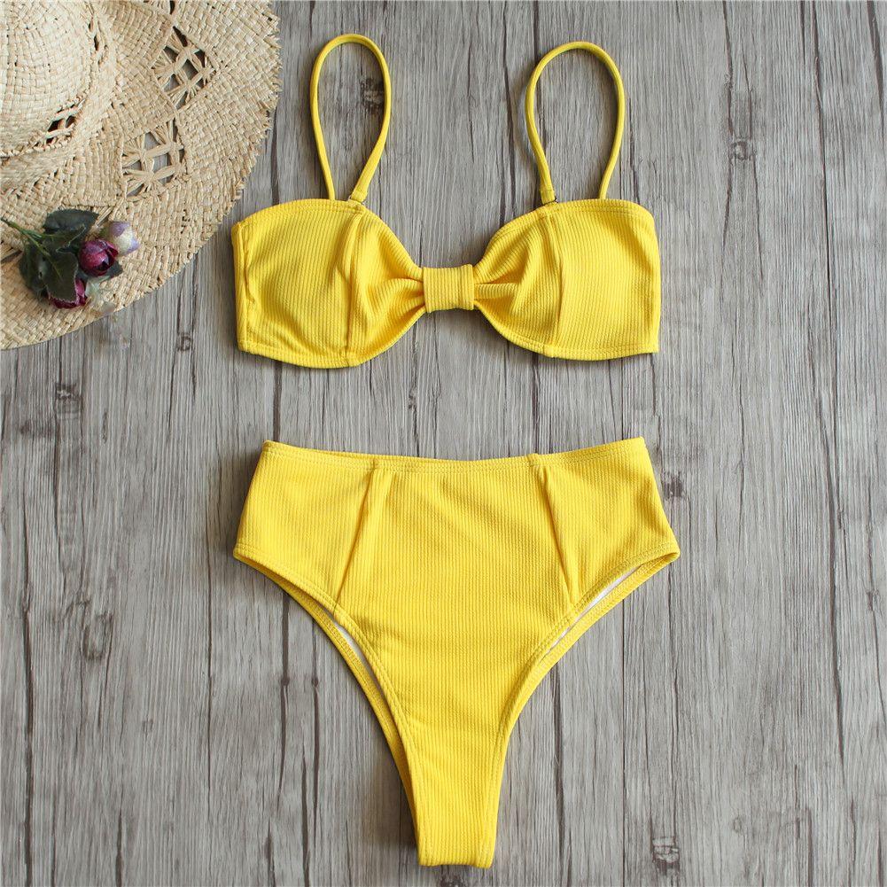 f82b149bedfb5 2019 Retro Sexy Yellow Bandeau Biquini Cut High Waist Swim Bathing Suit  Swimsuit Swimwear Women Bikini Ribbed Bather Female UK 2019 From Fwuyun, ...