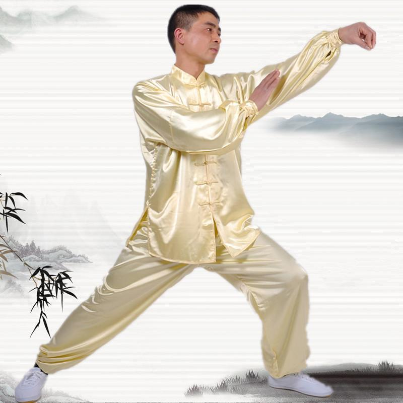 Spring and Autumn men and women Tai Chi clothing martial arts practice long-sleeved taijiquan clothing performance suits
