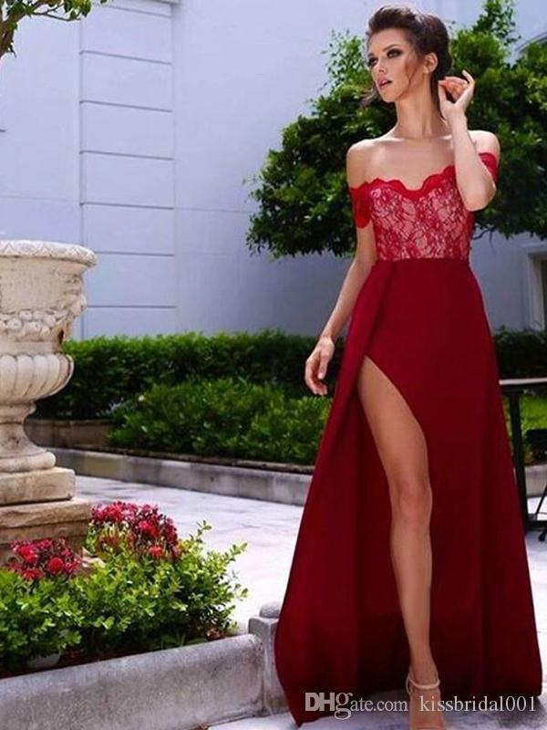 072e7bc7d630b Abendkleider Off the Shoulder Red Prom Dresses with Split Lace Bodice  Mermaid Evening Gowns Women Bridesmaid Party Dress Formal Gown