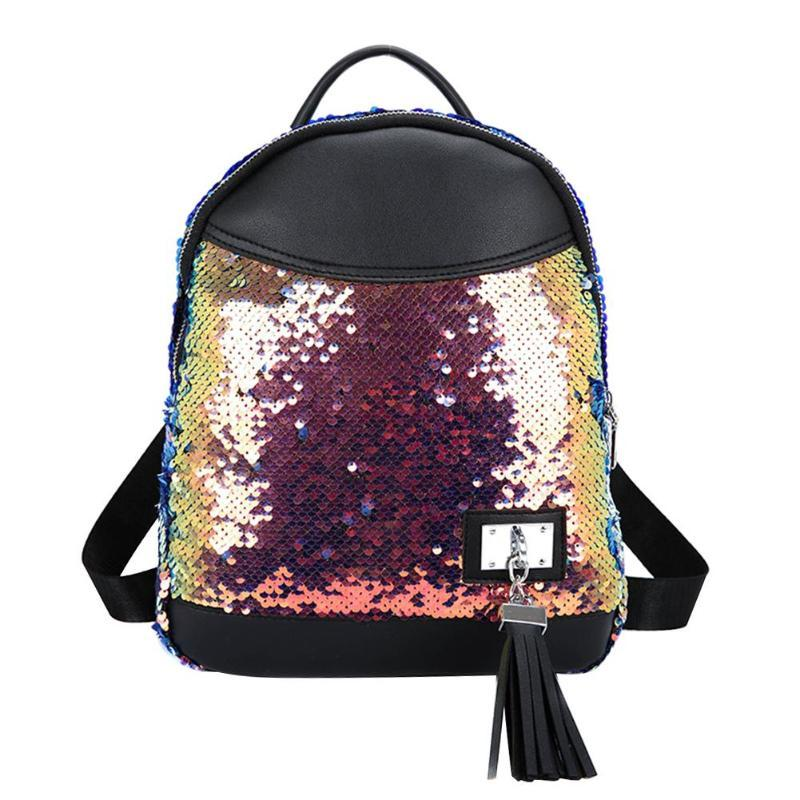 2019 New Sequins Tassel Student Backpack Women Small Casual Travel ... 869cc8a002297