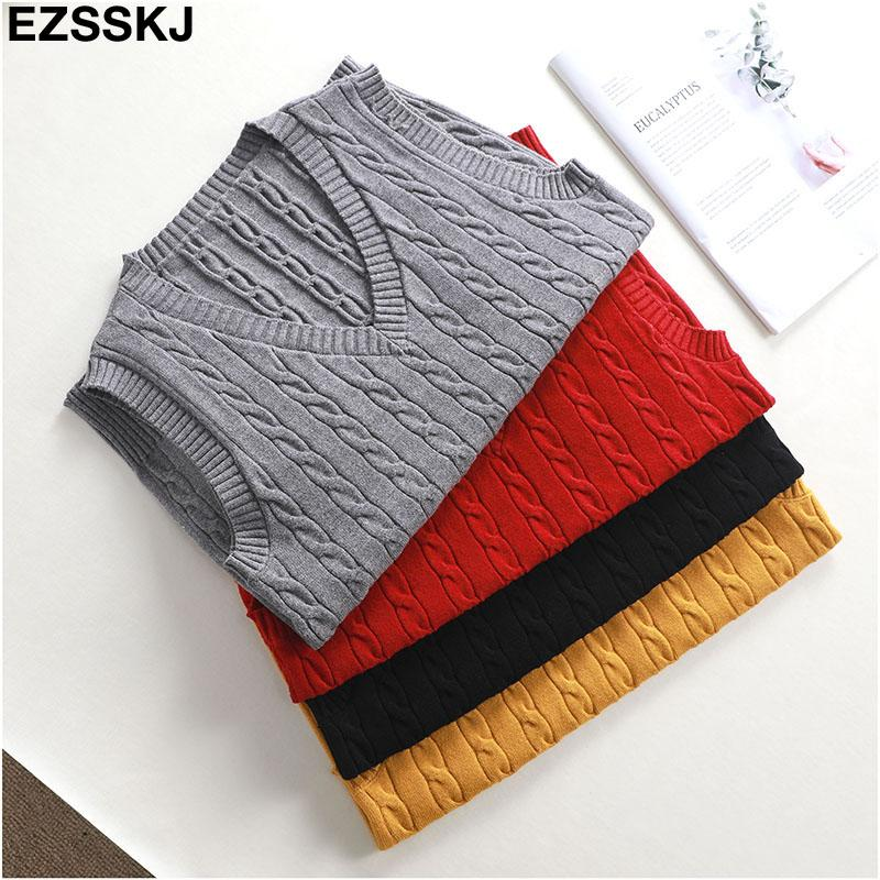 2019 NEW Spring Autumn Wool Sweater Vest Women V-Neck Knitted Vest Female casual tank tops Sleeveless Twist knit pullovers