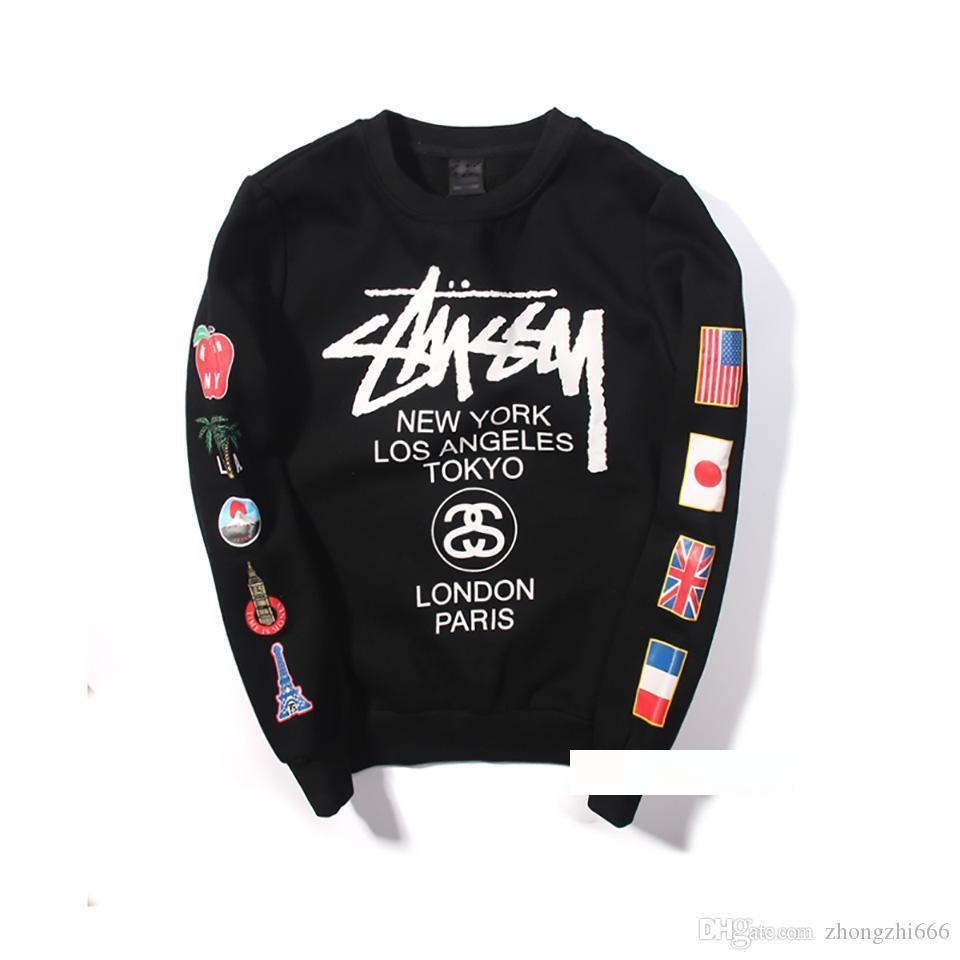 Stussys Men Designer Hoodie Japanese Style World Tour Flag Printing Brand pullover plus Velvet Leisure Fashion Trend hip hop sweater