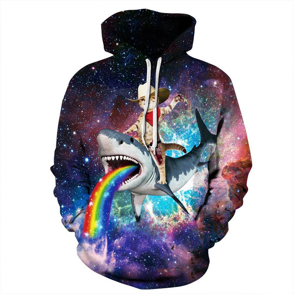 Women Clothing 3D Digital Rainbow Shark Unisex Realistic Pullover Hot Sale Sweatshirt Hoodie Hooded Sweatshirt