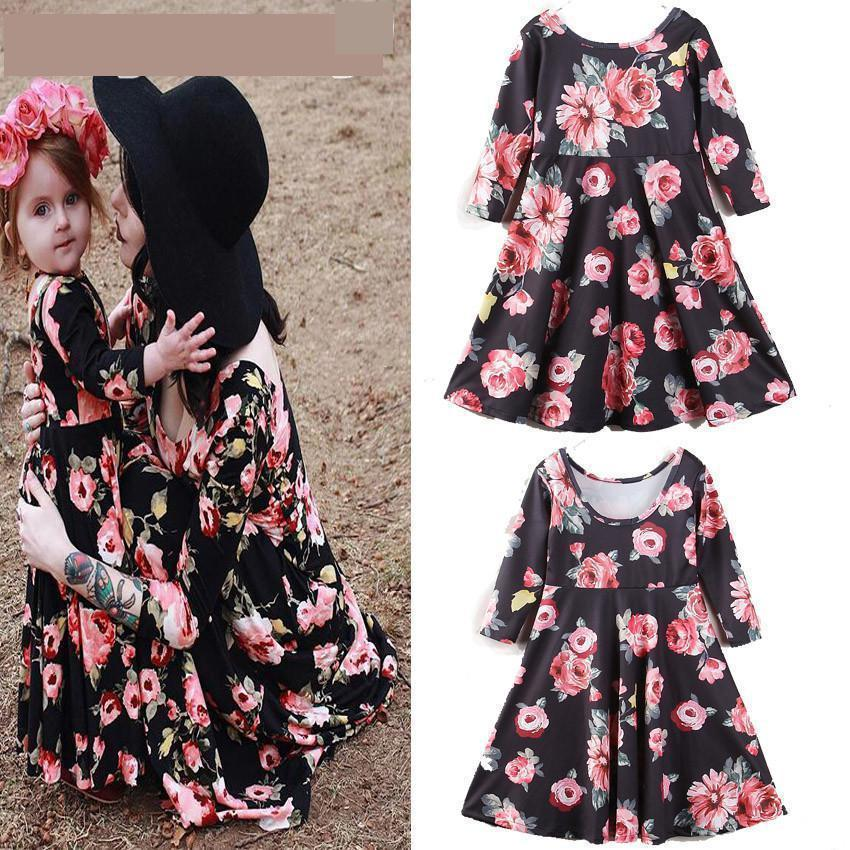 Family Matching Outfits 2019 New Hot Mom Daughter Family Dresses Clothes  Women Kids Girls Casual Full Sleeve Floral Dress Fy062 Matching Mom And  Daughter ... b78ae7966323