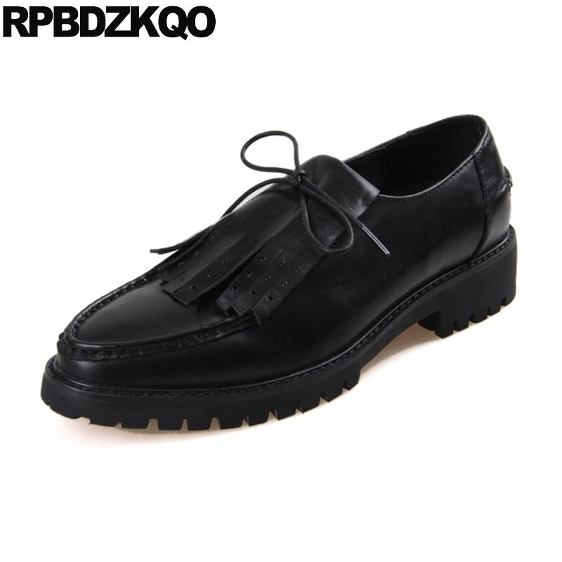 4dbda9cd61fb Pointed Toe Brand Men Oxfords Shoes Handmade Genuine Leather Casual Spring  Tassel Runway European Pointy Creepers Lace Up Black Designer Shoes High  Heel ...