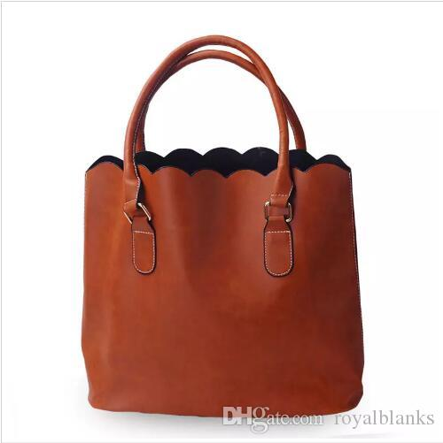 ROYALBLANKS Personalised Wholesale Faux Leather Top Handle Bag Scalloped Casual Tote Purse Handbag With Two Handles Can Be Embroideried