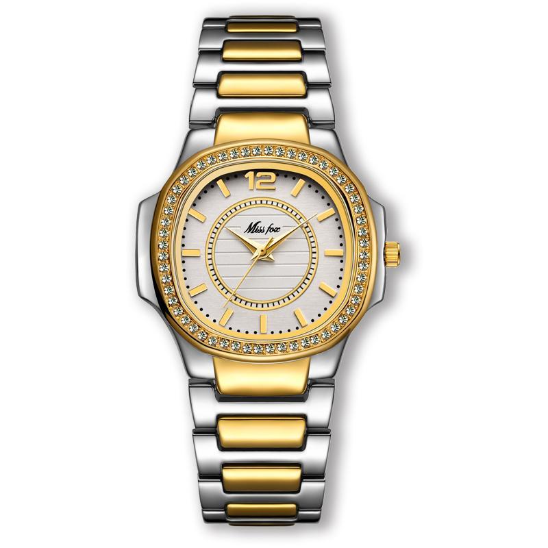 Mode Wasserdichte Frau Marke Masculino Paar Quarz Diamant Stahl Uhren Uhr Gold 2018 Top Neue Damen Tisch Relogio RcAj354LqS