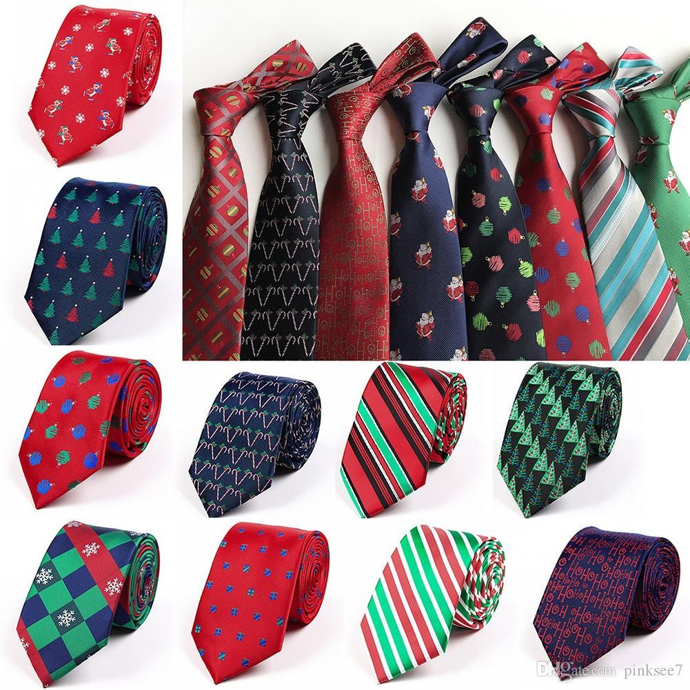 Mens Ties Polyester Jacquard Christmas Tie Slim Necktie ...