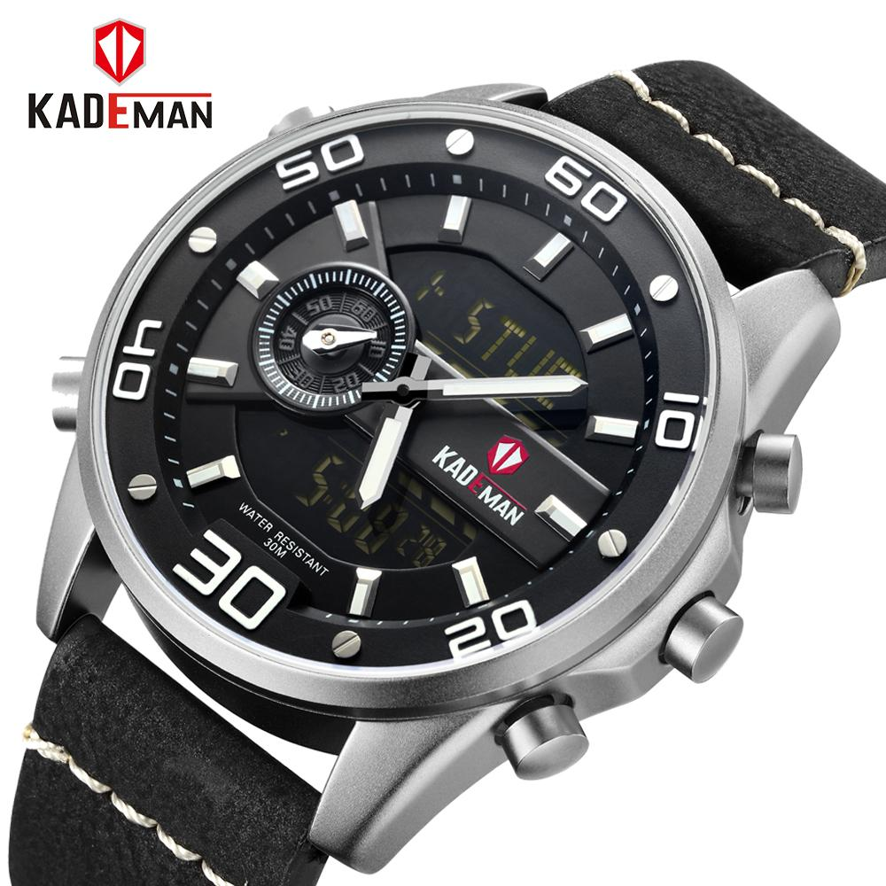 a7d39171ad5 Men Watches Fashion Chronograph Male Top Brand Luxury Dual Display Watch  Men Leather Waterproof Sport Watch Relogio Masculino Stylish Watches  Prestige ...