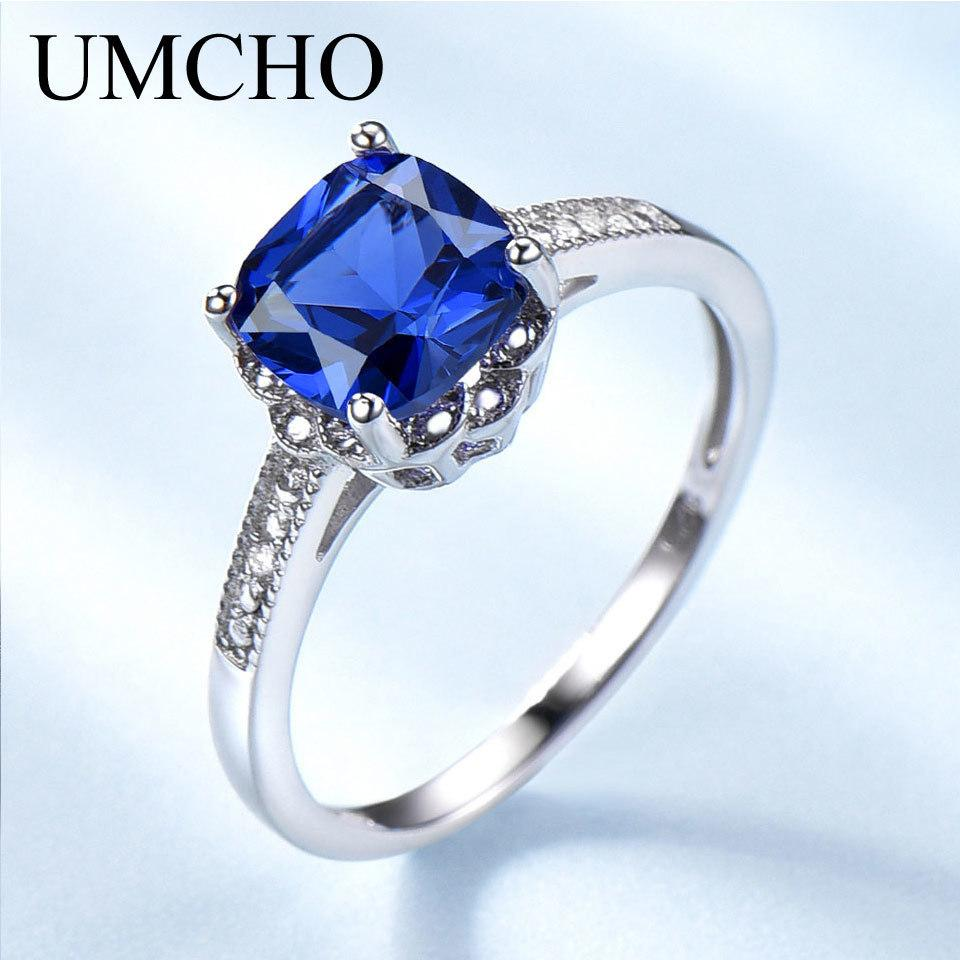 955799c2f1 2019 Umcho Solid 925 Sterling Silver Ring Blue Sapphire Gemstone ...