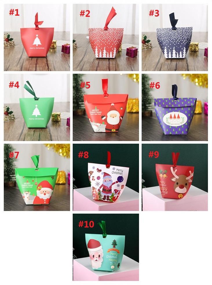 10 stili di scatola regalo di Natale 10 * 7 * 5,5 centimetri al forno biscotto confezione regalo rifornimenti di Natale sacchetto di imballaggio scatola di caramelle T3I5510