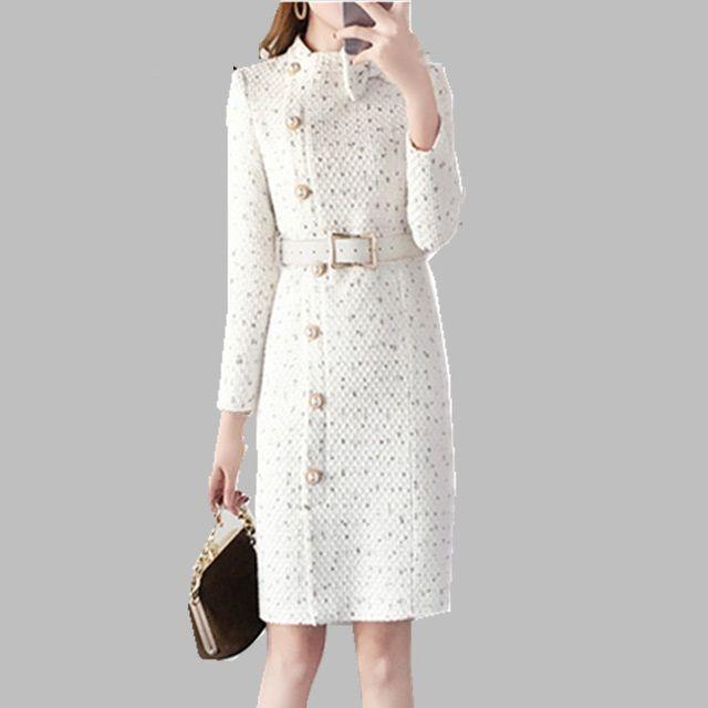 81cc00f1f3bcf 2019 Neue Ankunft Herbst und Winter Runway Frauen elegante Tweed Kleid  Bogen Kragen Langarm weibliche Mode chic Kleider Vestidos