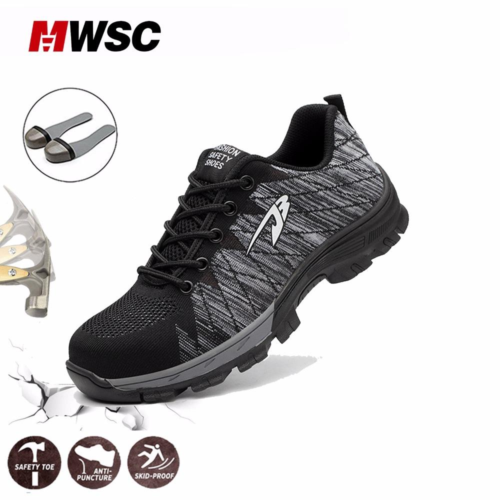 a39cfe2012e27 MWSC Summer Man Safety Shoes Breathable Work Shoes for Men Work Mesh Boots  Steel Toe Cap Protection Construction Shoe