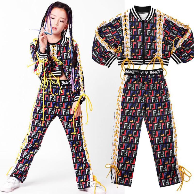 1bdf887edca9 Kid Hip Hop Clothing Suit Jazz Dance Costumes Set Girl Casual Tank ...