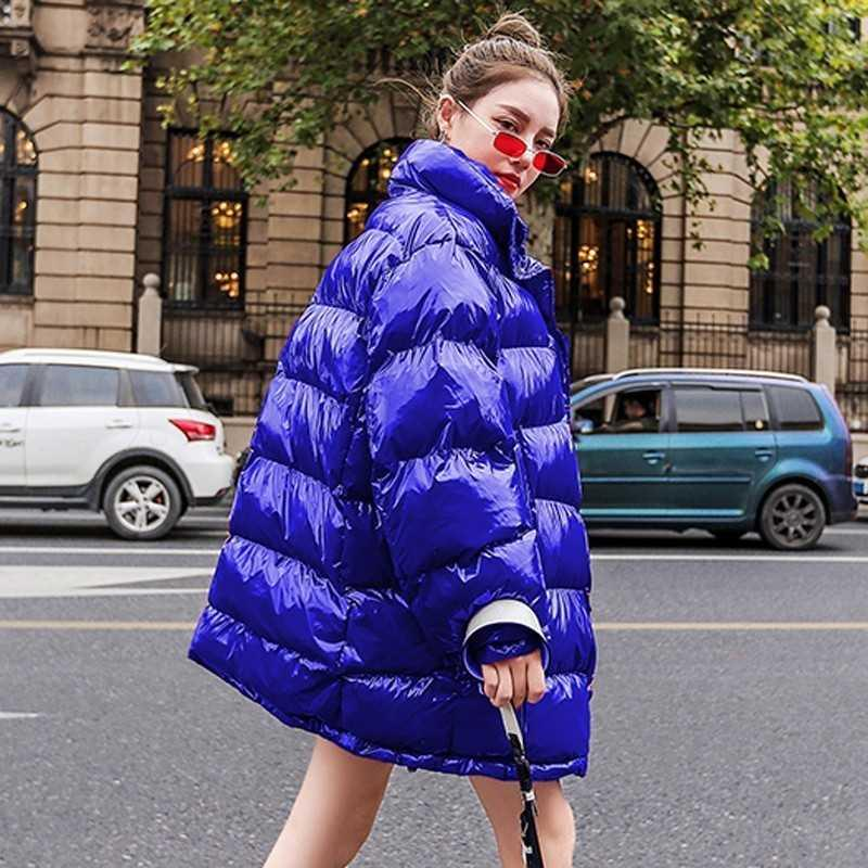 a7cb32b1e Winter Coat Thick Warm 2019 Plus Size Loose Puffer Jacket Women Clothes  Cotton Parka Korean Bright Metal Red Outwear PL004