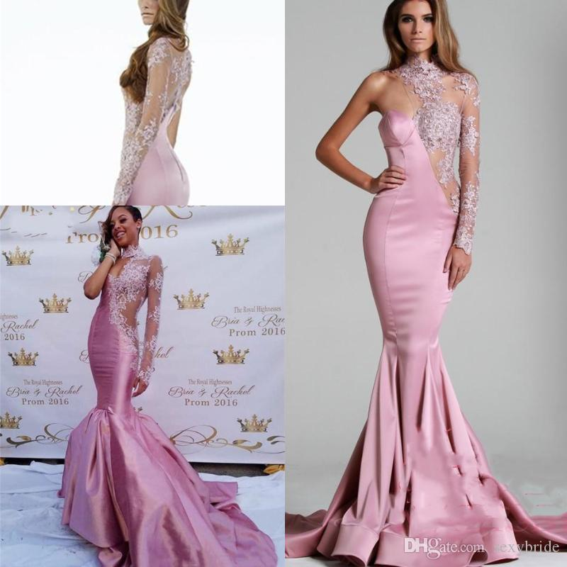 da71a72cbb12 Sexy Pink Mermaid Prom Dresses Sheer One Shoulder Long Sleeve Fishtail  Special Occasion Dress Lace Beaded See Through Trumpet Evening Gowns Prom  Dresses ...