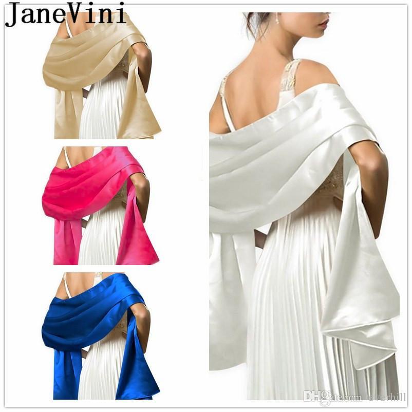 4f69e52120f5 2019 JaneVini Satin Bridal Shawl Wrap Bolero De Mariage 2019 White Black  Scarf Bride Wedding Evening Prom Dress Cape Women Plus Size Bolero From  Everhill, ...
