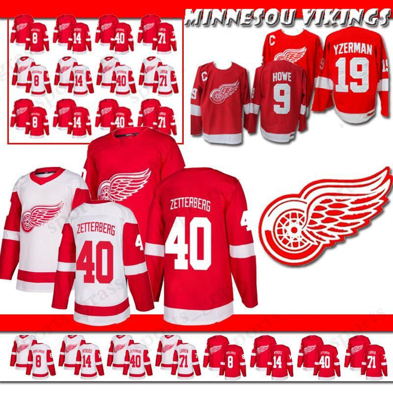 brand new d6845 84dcb 2019 Detroit Red Wings Hockey Jersey Home Away Red White Hockey Jersey 8  Justin Abdelkader 14 NYQUIST 71 Dylan Larkin 40 Henrik Howe Hockey