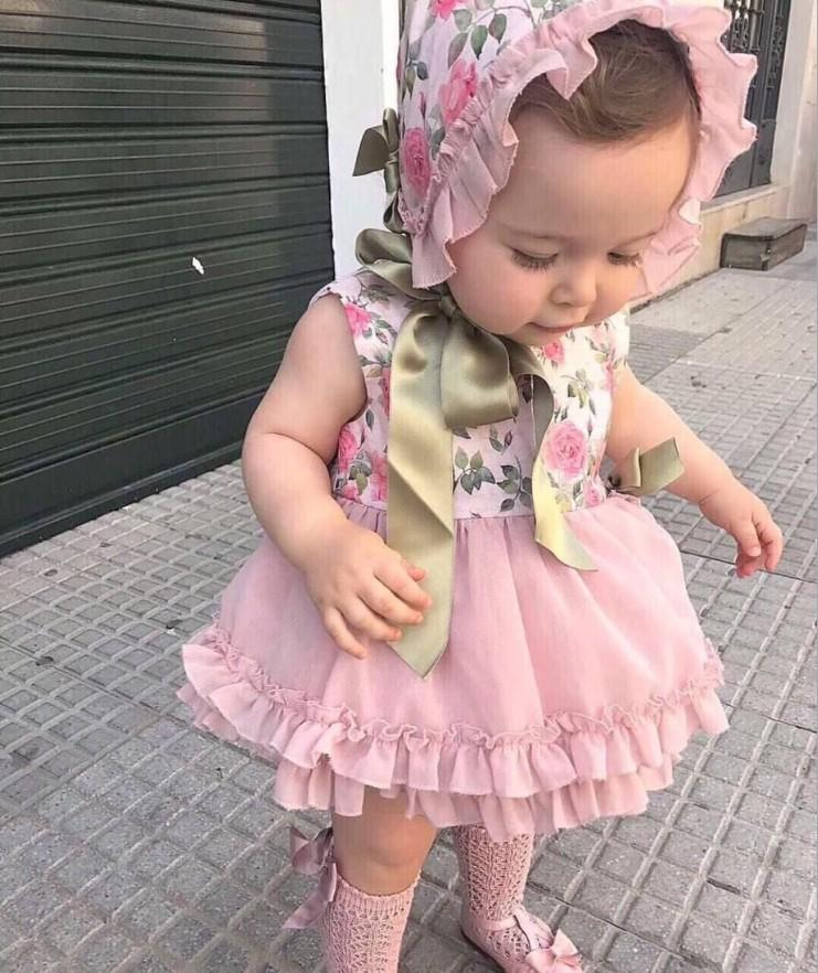 Palace style baby girls dress outfits kids floral printed Clothes Sets splicing lace tulle dress+ruffle shirt+lace-up Bows hat+shorts Y1025