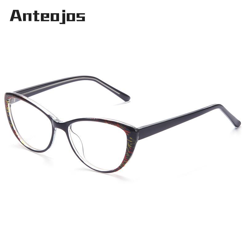 00c434815f60 ANTEOJOS Elegant Women s Glasses Flower Pattern Printed Cat s Eye ...