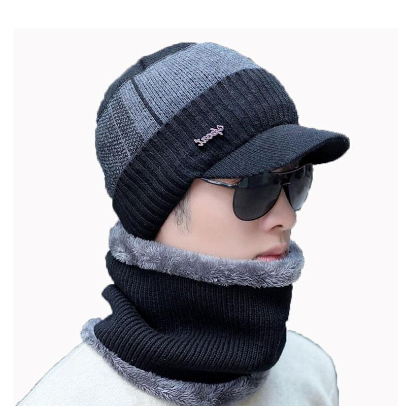 076ac860dd1 2019 Men Winter Hat And Scarf Set For Women Male Ring Scarves Cap With Brim  Knitted Visor Beanies Balaclava Adult Warm Set From Milknew