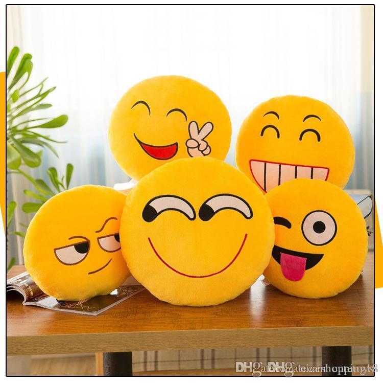 8-12cm Cute Emoji Smiley Plush Pendants Cartoon Facial QQ Expression  Cushion Pillows Embroidered Yellow Round Emoji Stuffed Plush Toy Dolls