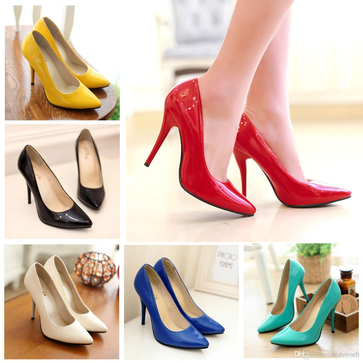078e85016c57d Wholesale 2019 Women Red Black Patent Leather Poined Toe Women Pumps 105mm Fashion  High Heels Shoes For Women Wedding Shoes Office Dress High Heel Shoes ...