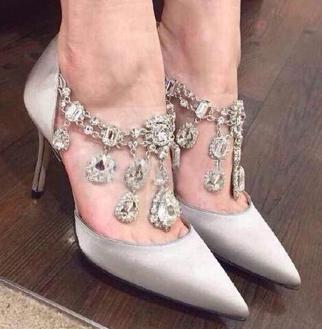 Hot Sale-2019 Designer Rhinstone Pointed Toe Super Nice Women Pumps For Party Wedding Shoes Woman Thin High Heels Slip On