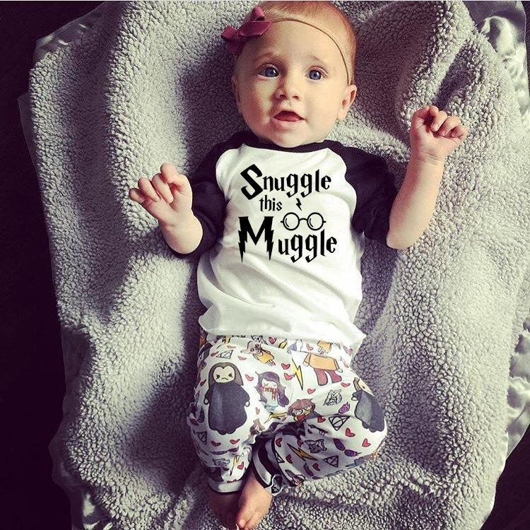 a1efb595c Newborn Baby Boys Girl Clothes 2018 New Summer Snuggle This Muggler T-Shirt  +Harri Potter Pants Infant Toddle kids Outfit Set Y18120303