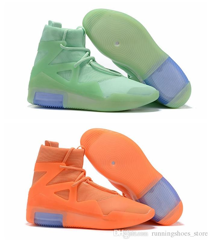 2019 New Fear Of God 1 Orange Pulse Frosted Spruce Mens Designer Shoes For Men Sneakers Fog Boots Sports Zoom Trainers Size 12