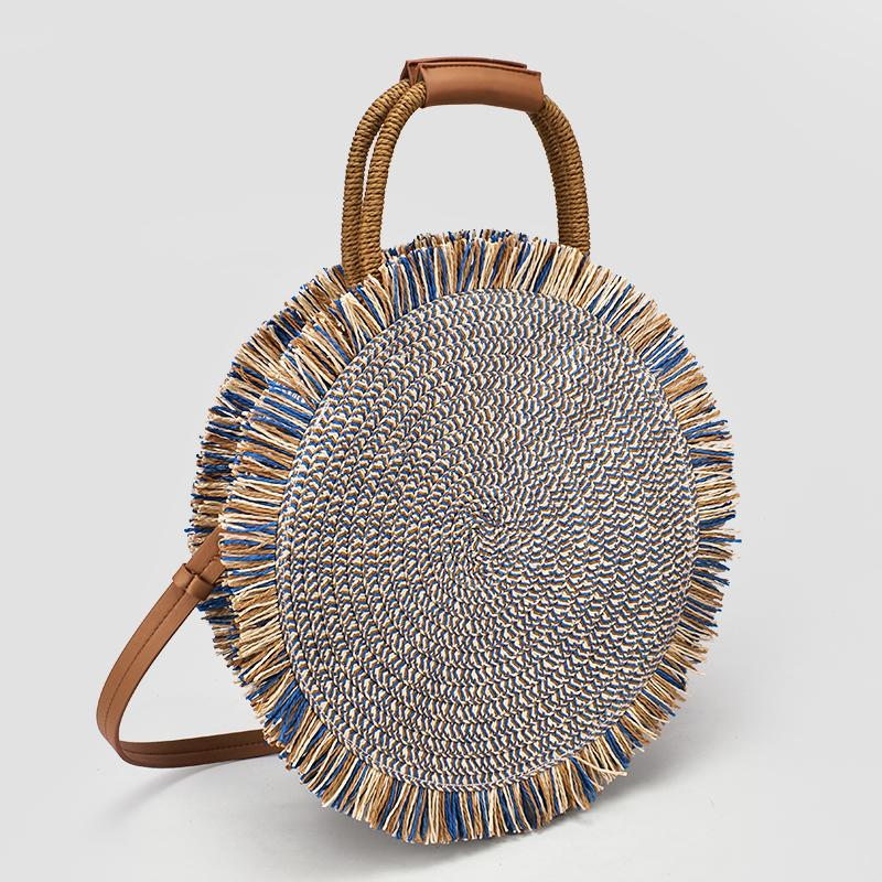 2019 Fashion New Tassel Handbag High Quality Straw Bag Women Beach Woven Bag Round Tote Fringed Beach Wovenshoulder Travel Bag Y190702