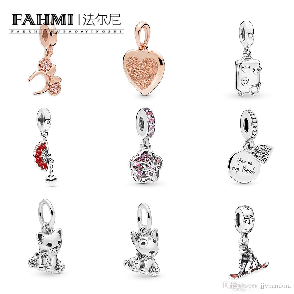 FAHMI 100%925 Sterling Silver 1:1 Cat Puppy Rose Ear Headband Long Peach Series Fan Snowboarder Dangle My Rock Suitcase Rose Heart Pendant