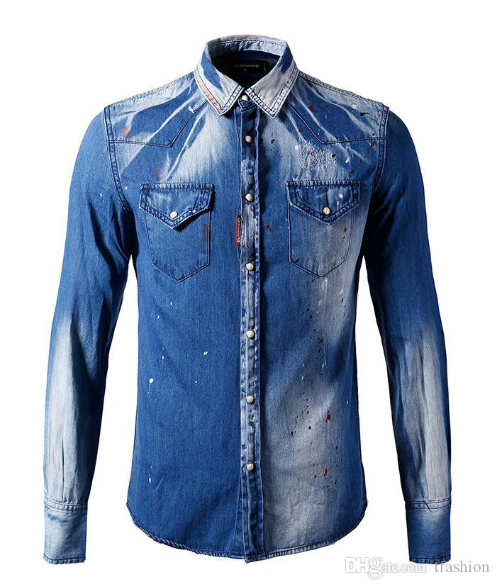 2ac6a1565c3 Brand Men s Business Casual Denim Cowboy Shirt Mens Long Sleeve Slim ...