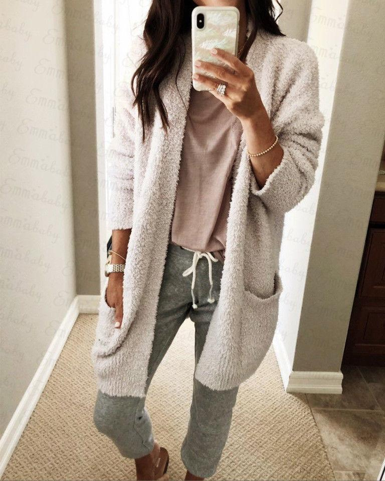 New Women Baggy Warm Cardigan Coat Long Tops Chunky Open Stitch Long Sleeve Casual Loose Sweater Jumper Outwear Winter Autumn